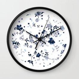 Indigo Blue Clematis Floral Pattern Wall Clock