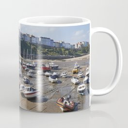 Boats in Tenby Harbour at low tide. Wales, UK. Coffee Mug