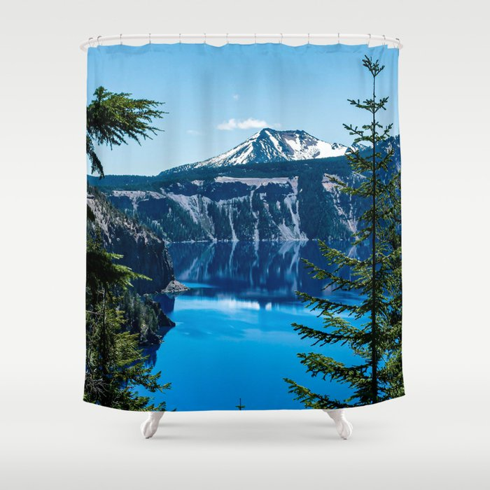 Crater Lake // Incredible National Park Views of the Dark Blue Waters Sky and Mountains through the Shower Curtain