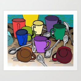 Cups and Spoons Art Print