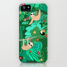 Sloths in the Emerald Jungle Pattern iPhone Case