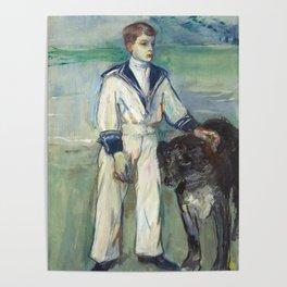 """Henri de Toulouse-Lautrec """"L'Enfant au chien, fils de Madame Marthe et la chienne Pamela-Taussat"""" Poster"""