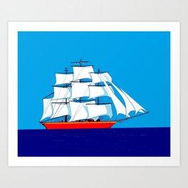 Clipper Ship in Sunny Sky Art Print