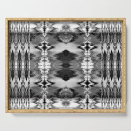 B&W Watercolor Ikat Serving Tray