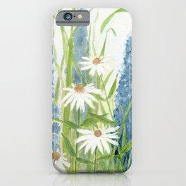 Watercolor Botanical Garden Flower Wildflower Blue Flower Garden iPhone Case