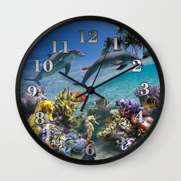 Coral Reef and Dolphins Wall Clock