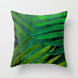 Forest Fern Green Throw Pillow