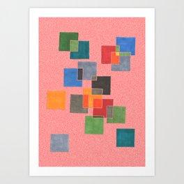 Squares on salmon Art Print