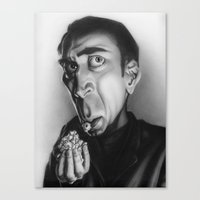 nicolas cage Canvas Prints featuring Nicolas Cage with popcorn. by Patrick Dea