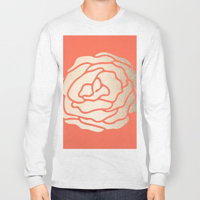 Rose White Gold Sands on Deep Coral Long Sleeve T-shirt
