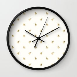 Gold Watercolour Bee Print Wall Clock