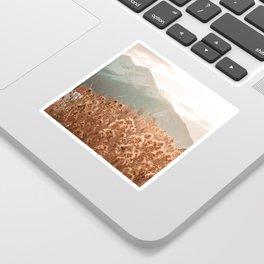Golden Wheat Mountain // Yellow Heads of Grain Blurry Scenic Peak Sticker
