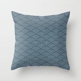 Blue Indigo Denim Seigaiha Sea Wave Nautical Minimalist Spring Summer Throw Pillow