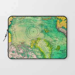 Colorful Map of the North Pole - Vintage Laptop Sleeve
