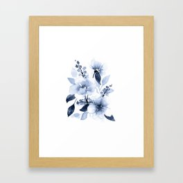 Navy Watercolor Flowers Framed Art Print