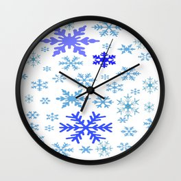 BLUE & PURPLE WINTER SNOWFLAKES  DESIGN Wall Clock