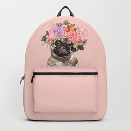 Pug with Flower Crown Backpack