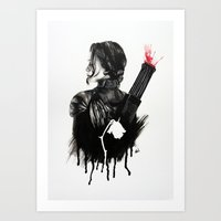 mockingjay Art Prints featuring Mockingjay by anazhinka