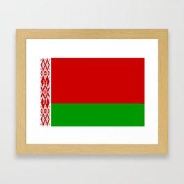 flag of belarus-belarusian,Minsk,Homyel,russia,snow,cold,chess,bear,rus,wheat,europe,easthern europe Framed Art Print