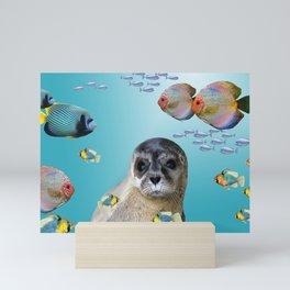 Tropic Fishes with seal - sea lion Mini Art Print