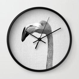 Flamingo - Black & White Wall Clock