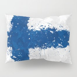 Finland Flag - Messy Action Painting Pillow Sham