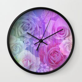 Roses, tiny flowers & leaves on an abstract background Wall Clock