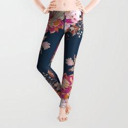 Vintage Floral on Blue Leggings