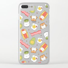 Cat food and succulent Clear iPhone Case