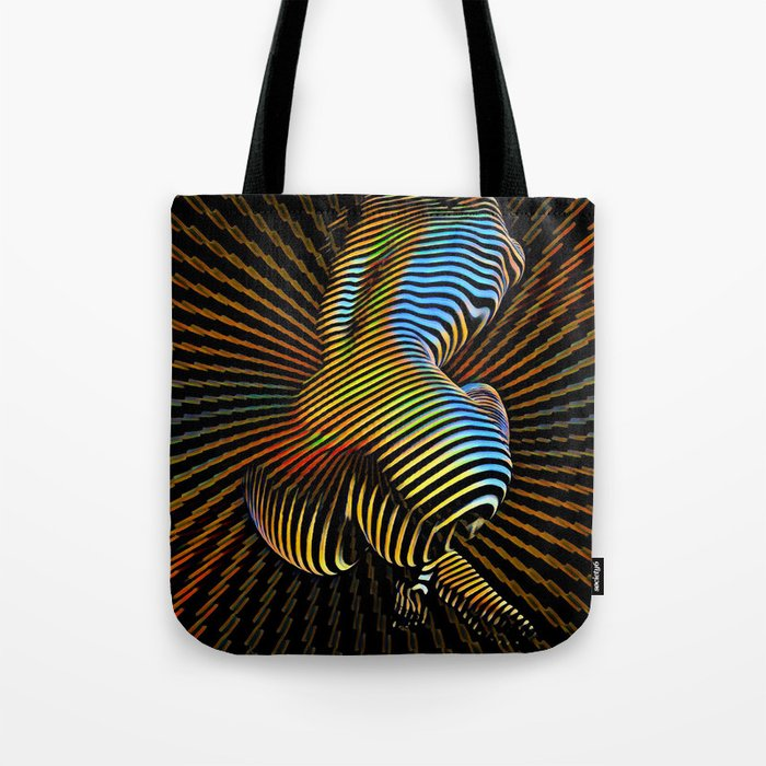0727s-MM Sensual Abstract Figure Zebra Striped Op Art Nude Woman Back Butt Powerful Artwork Tote Bag