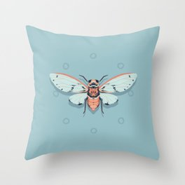 Orange and Blue Insect Throw Pillow