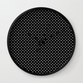 Handdrawn white dots on black ink Wall Clock