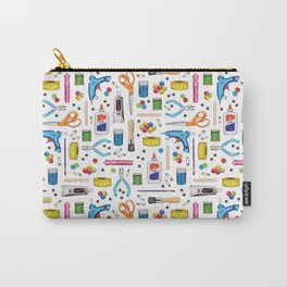 Cute & Crafty - Fun Pattern For Crafters w/ Colorful Craft Supplies Carry-All Pouch