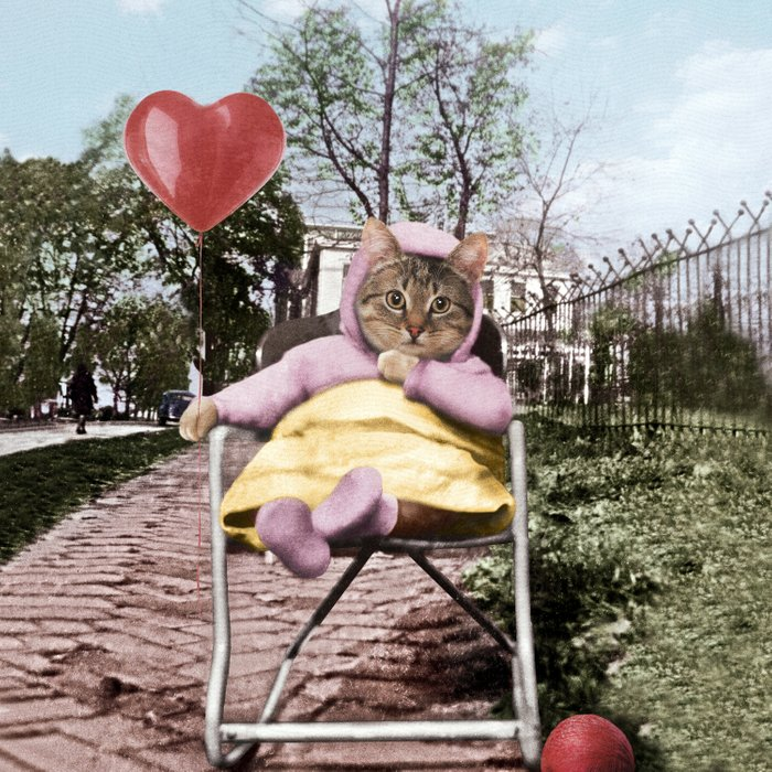 A pretty, little kitty with a heart-shaped balloon Comforters