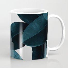 Indigo Blue Plant Leaves Coffee Mug