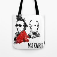 mozart Tote Bags featuring Mozart Punk by viva la revolucion