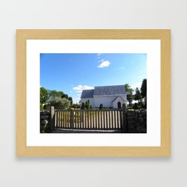 Little White Church in Denmark  Framed Art Print