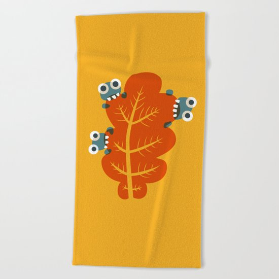 Cute Bugs Eat Autumn Leaf Beach Towel