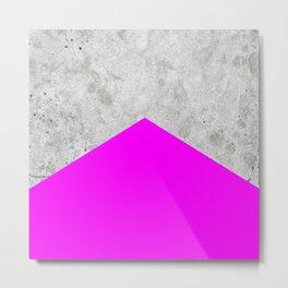 Geometric Concrete Arrow Design - Neon Purple #728 Metal Print