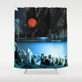 3d Art Digital Art Cave Lake Shower Curtain