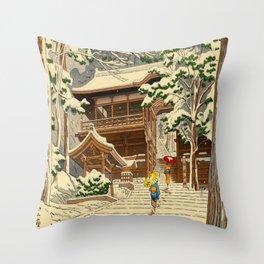 Asano Takeji Snow In Yuki Shrine Vintage Japanese Woodblock Print East Asian Beautiful Art Throw Pillow