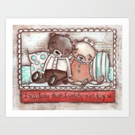 """Lucky Bears"" by Diane Duda Art Print"