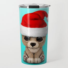 Christmas Bear Wearing a Santa Hat Travel Mug