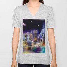 Starry Night New York City Unisex V-Neck