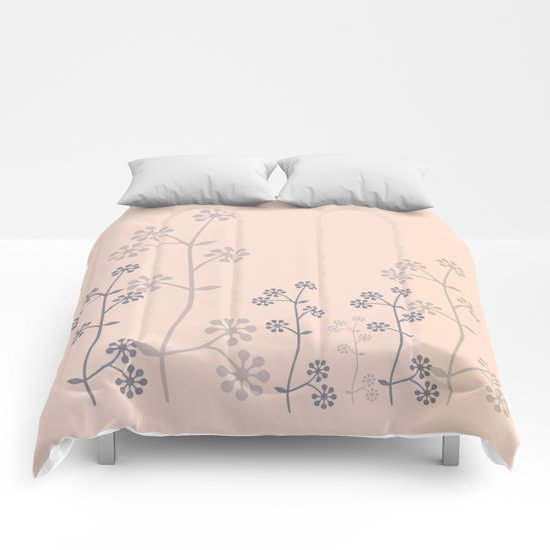 grey branch on pink Comforters
