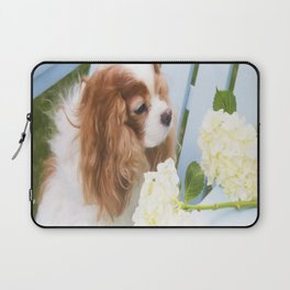 Cavalier King Charles With Hydrangeas Laptop Sleeve