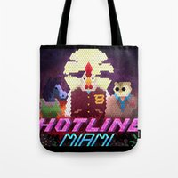 hotline miami Tote Bags featuring Hotline Hexels - Hotline Miami by Marco Mottura - Mdk7