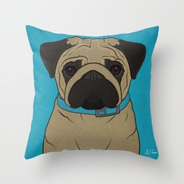 Icons of the Dog Park: Pug Design in Bold Colors for Pet Lovers Throw Pillow