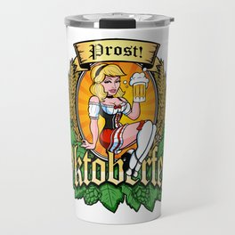 Oktoberfest German Prost Sexy Pin Up Girl Beer Label Travel Mug