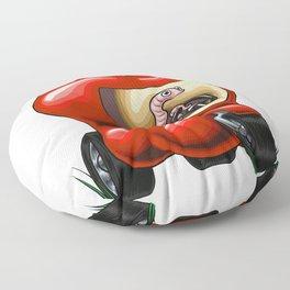 Worm Driving and Apple Tuk Tuk Floor Pillow